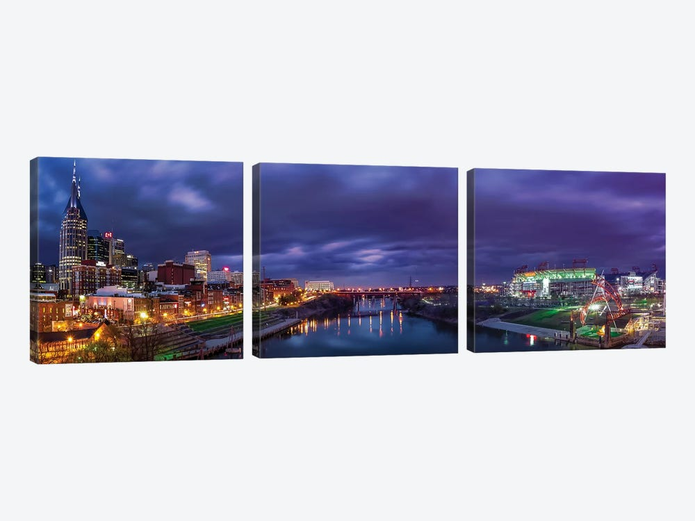 Nashville Lights On The Cumberland River by Jonathan Ross Photography 3-piece Canvas Art Print