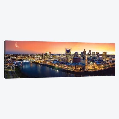 Nashville Twilight Panorama Canvas Print #JRP63} by Jonathan Ross Photography Canvas Art