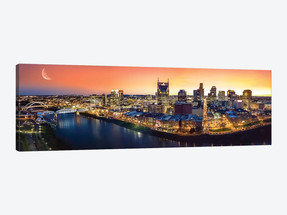 Nashville Twilight Panorama by Jonathan Ross Photography 1-piece Art Print