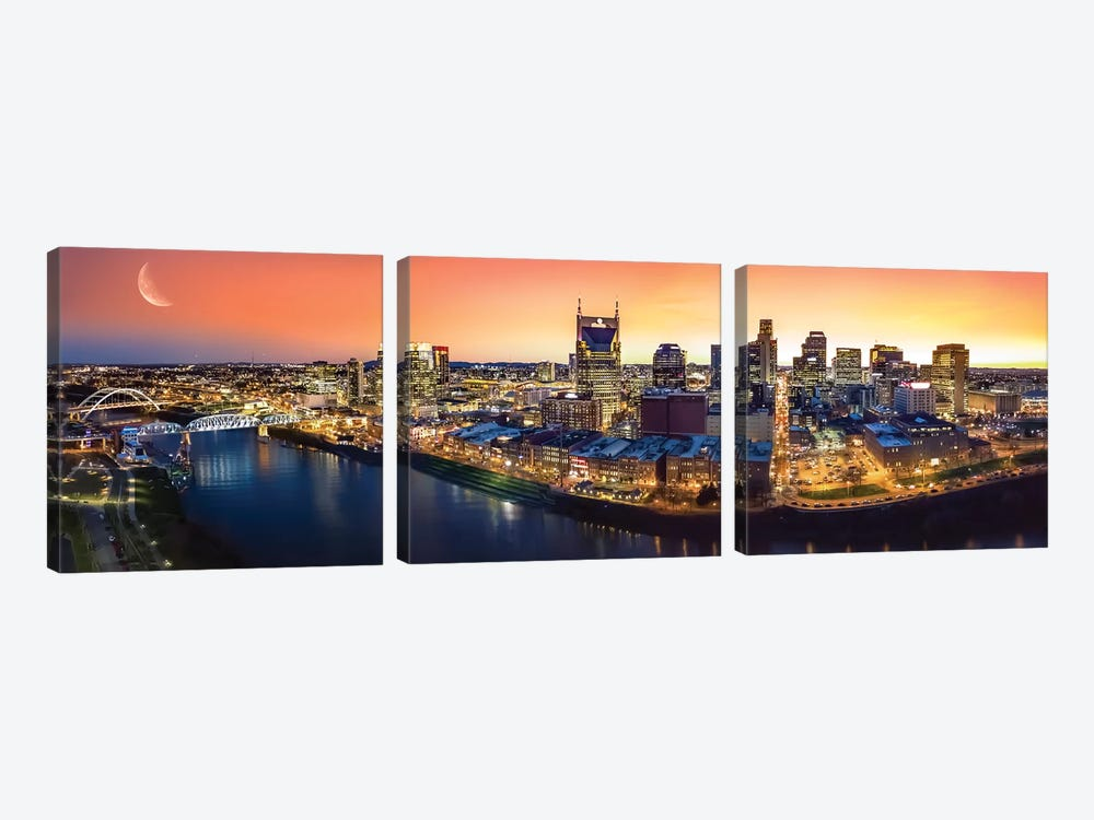 Nashville Twilight Panorama by Jonathan Ross Photography 3-piece Canvas Print