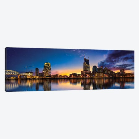 Night Is Falling On Nashville Canvas Print #JRP64} by Jonathan Ross Photography Art Print