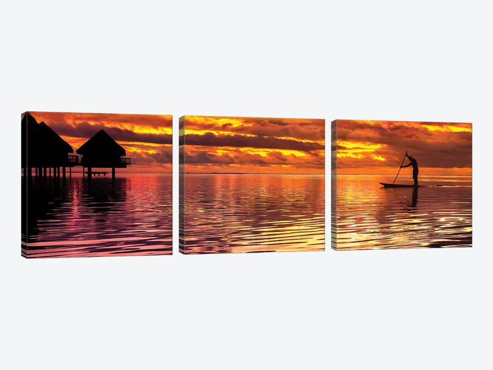 Paddling Into The Sunset by Jonathan Ross Photography 3-piece Canvas Print