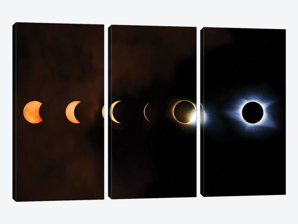 Phases Of A Total Eclipse by Jonathan Ross Photography 3-piece Canvas Art Print