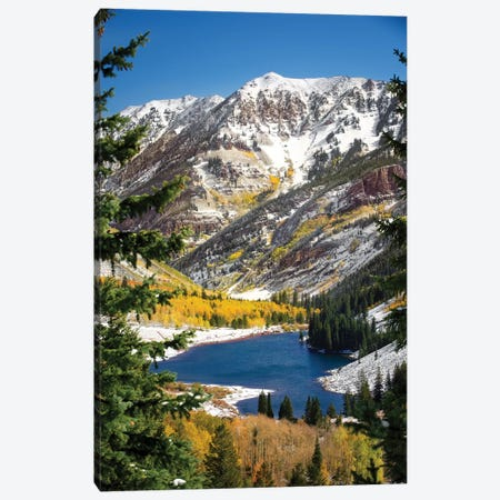 Snowy Maroon Bells Canvas Print #JRP82} by Jonathan Ross Photography Canvas Art