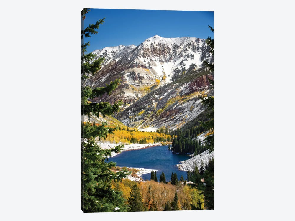 Snowy Maroon Bells by Jonathan Ross Photography 1-piece Canvas Art