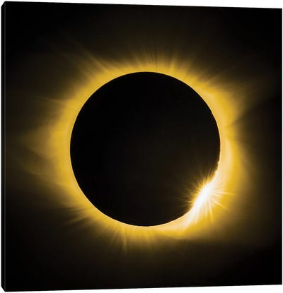Solar Eclipse With Diamond Ring Canvas Art Print