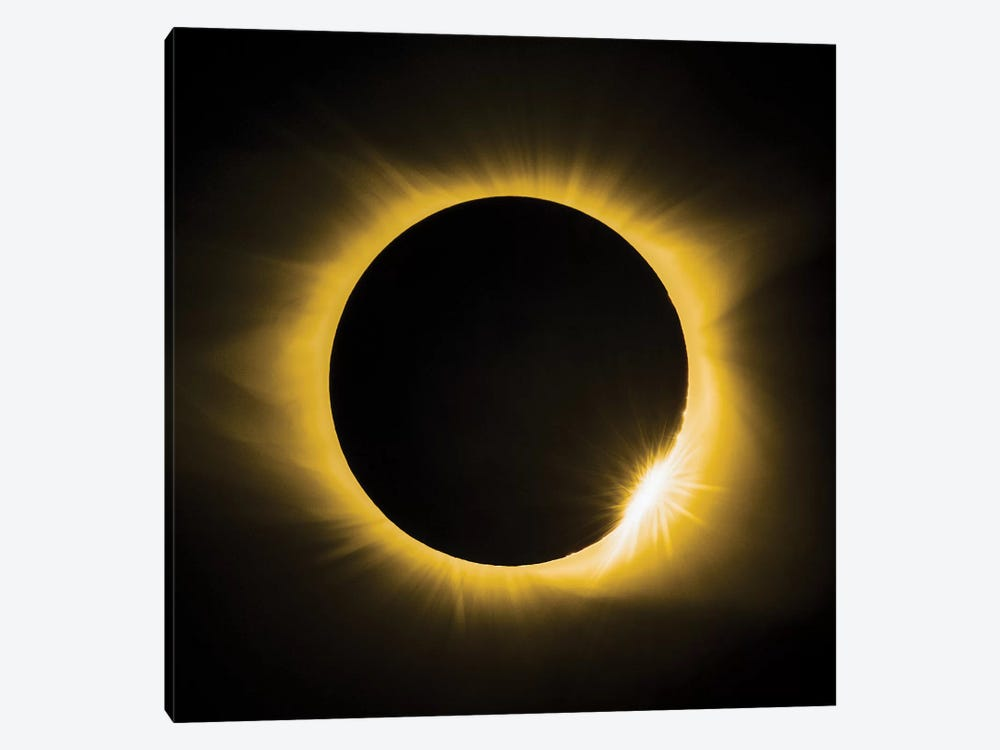 Solar Eclipse With Diamond Ring by Jonathan Ross Photography 1-piece Canvas Print