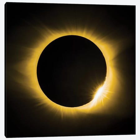 Solar Eclipse With Diamond Ring Canvas Print #JRP83} by Jonathan Ross Photography Canvas Artwork