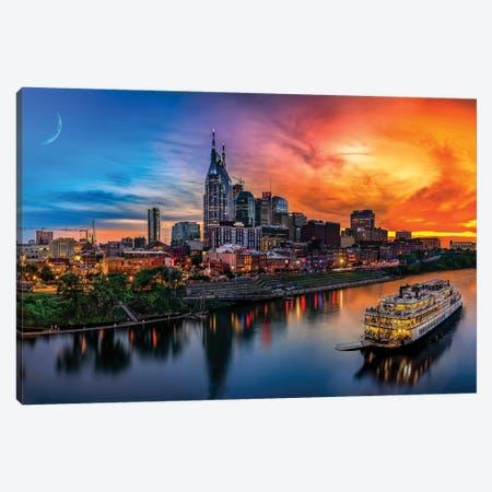 Southern Sky Sunset Over Nashville Canvas Print #JRP84} by Jonathan Ross Photography Canvas Print