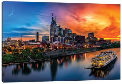 Southern Sky Sunset Over Nashville Canvas Art Print