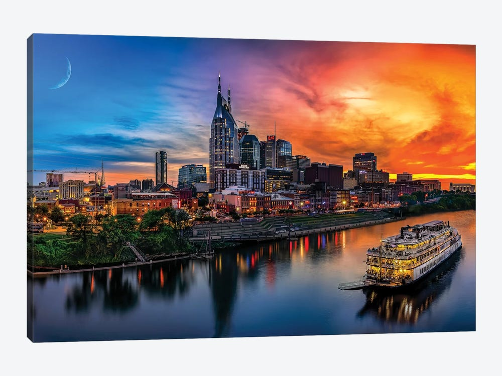 Southern Sky Sunset Over Nashville by Jonathan Ross Photography 1-piece Canvas Wall Art