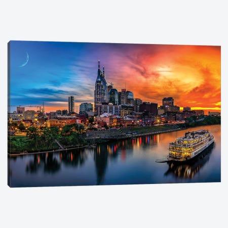 Southern Sky Sunset Over Nashville Canvas Print #JRP84} by Jonathan Ross Photography Canvas Print
