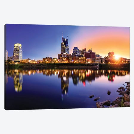 Sun Going Down On Nashville Canvas Print #JRP88} by Jonathan Ross Photography Canvas Artwork