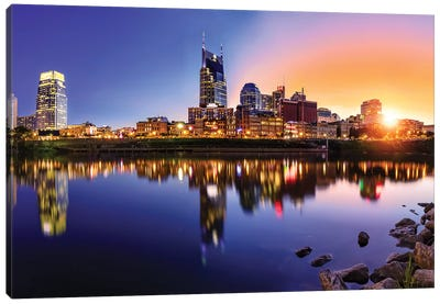 Sun Going Down On Nashville Canvas Art Print