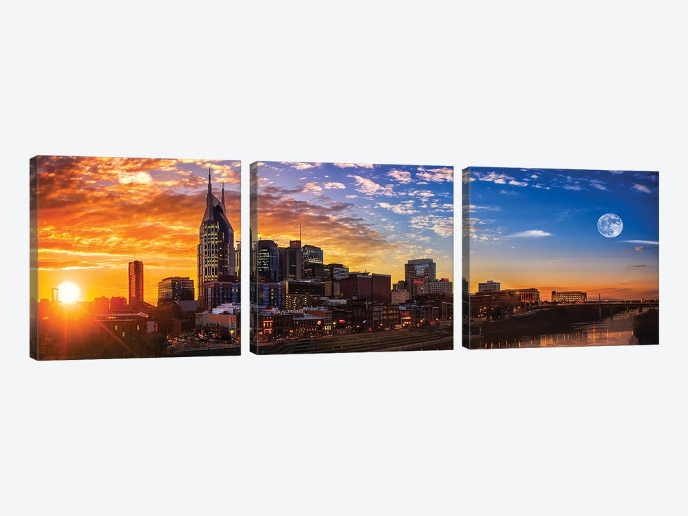 Sundown In Music City by Jonathan Ross Photography 3-piece Art Print