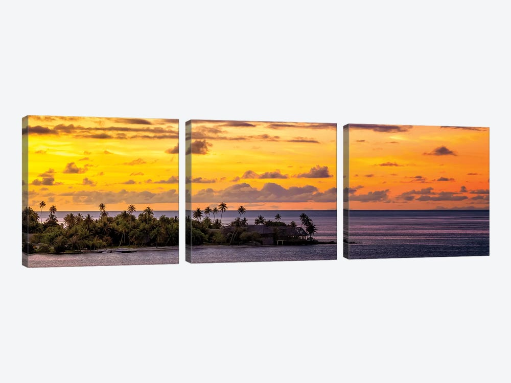Sundown In The South Pacific by Jonathan Ross Photography 3-piece Canvas Wall Art