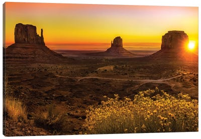 Sunrise In Monument Valley Canvas Art Print
