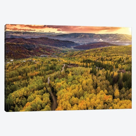Sunset In The Valley 3-Piece Canvas #JRP97} by Jonathan Ross Photography Canvas Artwork