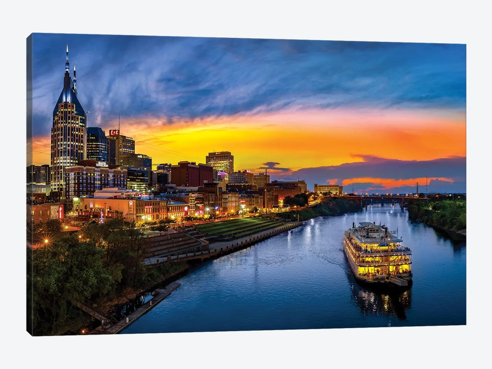 Sunset On The Cumberland by Jonathan Ross Photography 1-piece Canvas Print