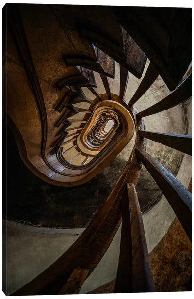 Dark Brown Spiral Staircase Canvas Art Print