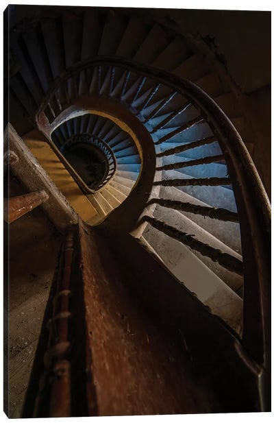 Abandoned Wooden Staircase Canvas Art Print