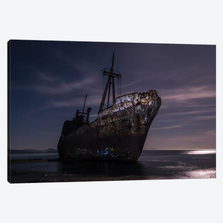 Dimitrios Shipwreck At Night 3-Piece Canvas #JRS20} by Jaroslaw Blaminsky Canvas Art Print