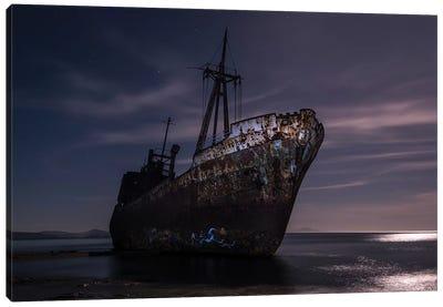 Dimitrios Shipwreck At Night Canvas Art Print
