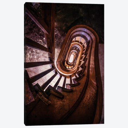 Forgotten Brown Staircase Canvas Print #JRS25} by Jaroslaw Blaminsky Canvas Artwork