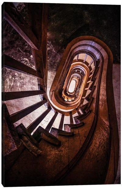 Forgotten Brown Staircase Canvas Art Print