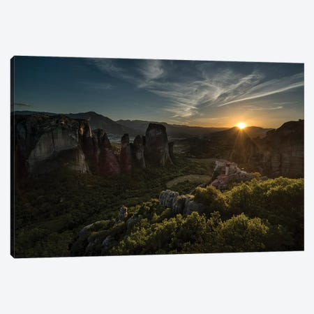Greece, Meteora At Sunset 3-Piece Canvas #JRS28} by Jaroslaw Blaminsky Canvas Art Print
