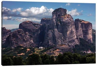 Greece, Meteora Rocks On A Sunny Day Canvas Art Print