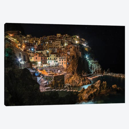 Manarola At Night Canvas Print #JRS44} by Jaroslaw Blaminsky Canvas Art