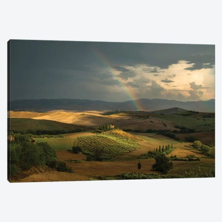 Rainbow Over Val D'Orcia Fields Canvas Print #JRS63} by Jaroslaw Blaminsky Canvas Art Print