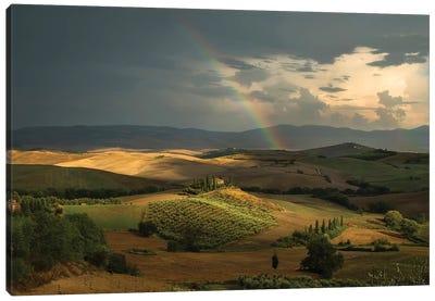 Rainbow Over Val D'Orcia Fields Canvas Art Print