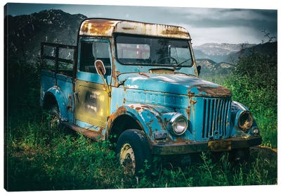 Blue Truck Canvas Art Print