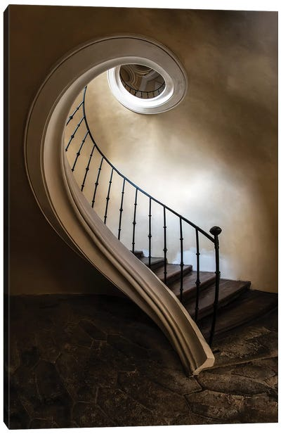 Spiral Staircase In The Old Tower Canvas Art Print
