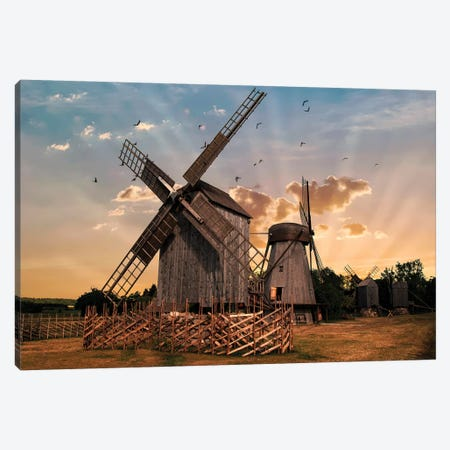 Windmills At Dawn Canvas Print #JRS96} by Jaroslaw Blaminsky Art Print