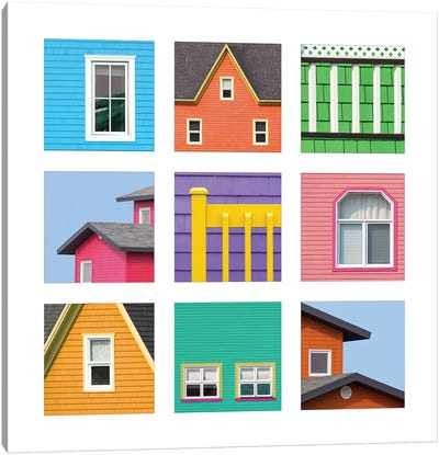 Collage Of The Colourful Houses Of The Magdalen Islands, Canada Canvas Art Print