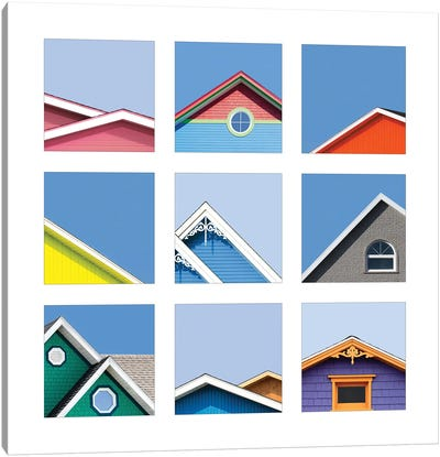 Collage Of The Rooftops Of The Magdalen Islands, Canada Canvas Art Print