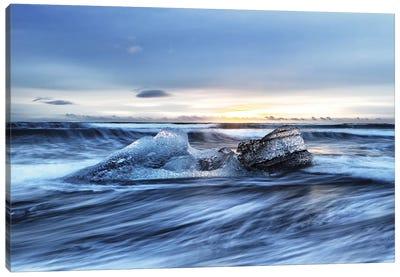 Diamond Beach Sunrise, Iceland In Winter Canvas Art Print