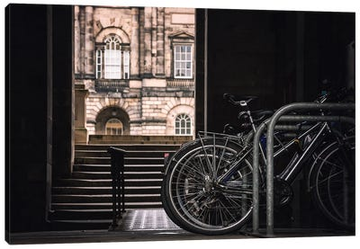 Bikes Outside Of Edinburgh University Canvas Art Print