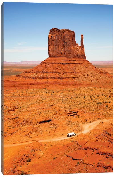 Butte With Truck, Monument Valley Canvas Art Print
