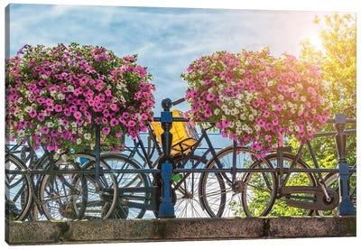 Amsterdam Bridge And Bikes In Summer Canvas Art Print