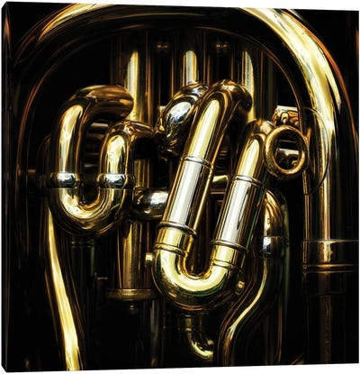 Detail Of The Brass Pipes Of A Tuba Canvas Art Print