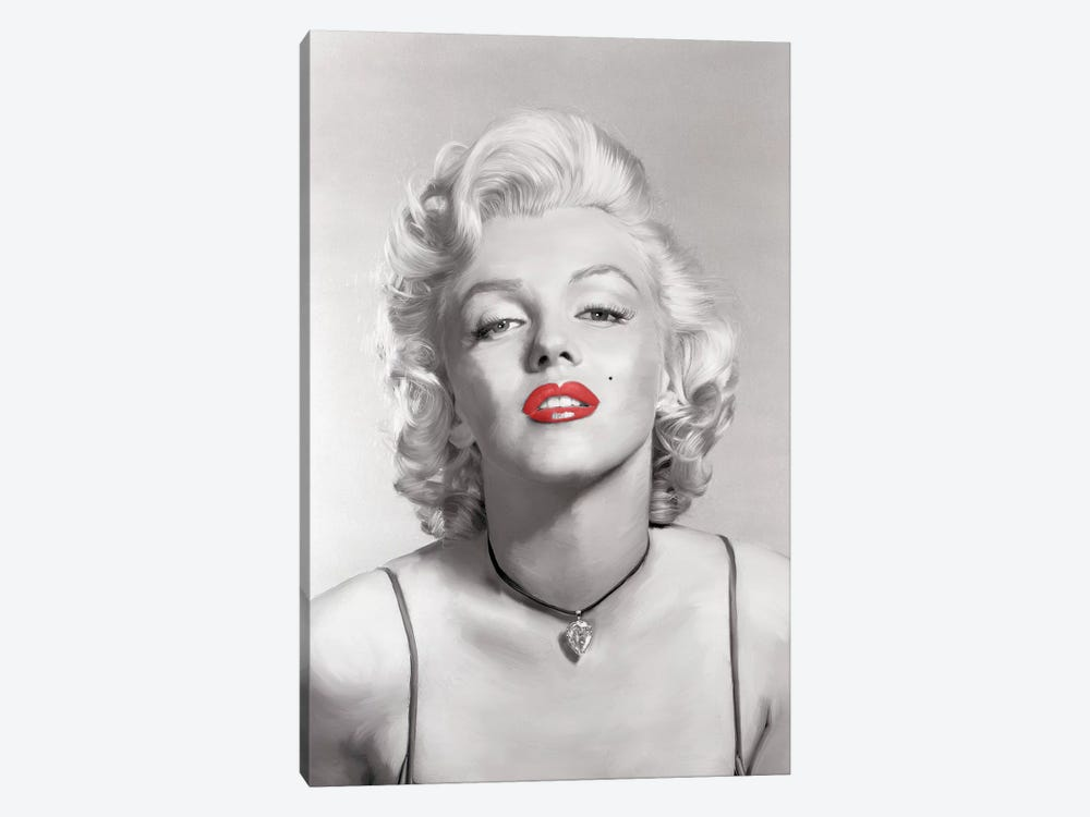 Look Of Love Red Lips In Gray by Jerry Michaels 1-piece Canvas Print