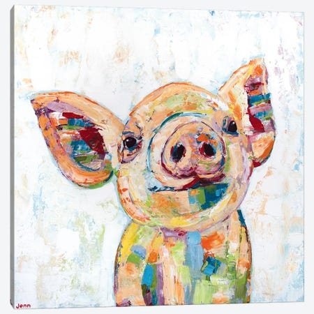 Happy Pig- White Canvas Print #JSE11} by Jennifer Seeley Canvas Art Print