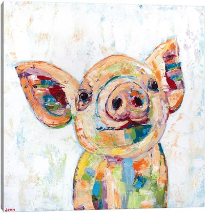 Happy Pig- White Canvas Art Print