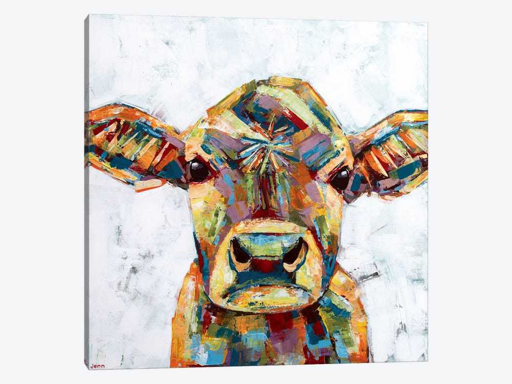 Jersey Cow- White by Jennifer Seeley 1-piece Art Print
