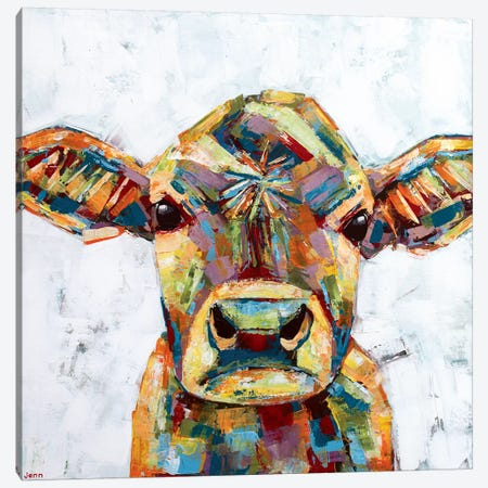 Jersey Cow- White Canvas Print #JSE13} by Jennifer Seeley Canvas Print
