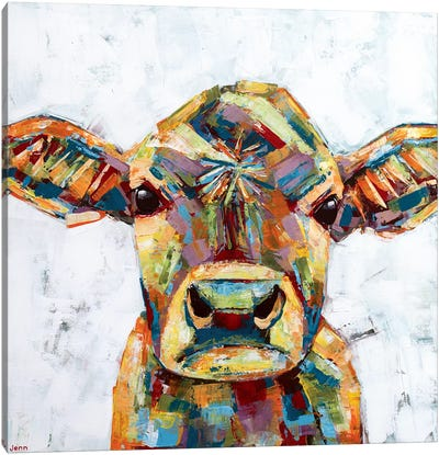 Jersey Cow- White Canvas Art Print